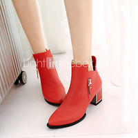 [USD $ 47.99] Women's Shoes Chunky Heel Fashion Boots/Pointed Toe Boots Office & Career/Dress/Casual Black/Brown/Red
