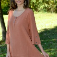 Simply Noelle Rust Tunic with Buttons on Sleeves