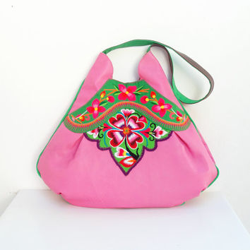 Vintage Embroidery and Leather Bag - Large Pink Boho Purse