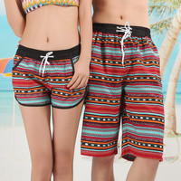 Summer Couple Shorts Bohemian Aztec Tribe Print Swimming Surf