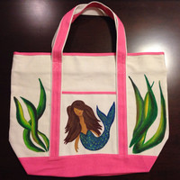 Zippered Tote Bag Hand Painted with Mermaid