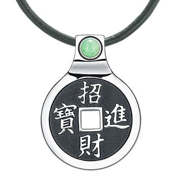 Feng Shui Lucky Coin Amulet Kanji Magic Fortune Powers Unique Charm Green Quartz Leather Pendant Necklace