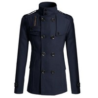 Partiss Mens Double-breasted Overcoat