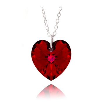 Red Love Crystal Pendant - Swarovski Style Red Crystal Heart, Sterling Silver, Pendant & Necklace