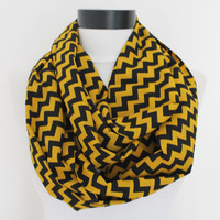 yellow chevron scarf,infinity scarf, scarf, scarves, long scarf, loop scarf, gift