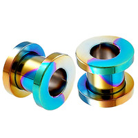 Bling Screw-Fit Tunnel [Gauge: 00G - 10mm] Anodized Surgical Steel (Rainbow) // Set of 2