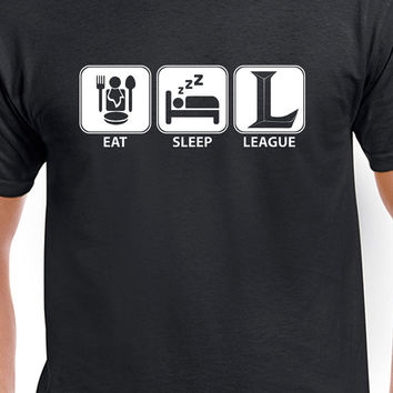 League of Legends Eat, Sleep, League Funny White Logo T-Shirt Gaming E-Sport UniSex T-Shirt