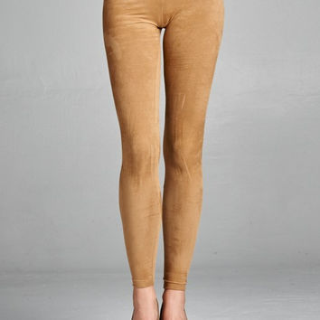 Camel Suede Leggings