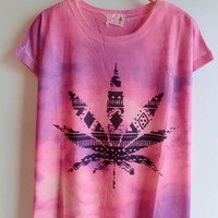 Gradient Color Leaf Print T-shirts