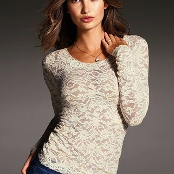 Long-sleeve Stretch Lace Top - Victoria s from Victoria s 8a900ad69fb3