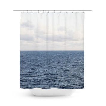 Cobalt Sea - Shower Curtain, Nautical Blue Seascape Bath Accent, Hanging Tub Vanity Bathroom Beach Surf Style Bath Tub Curtain. 71x74 Inches