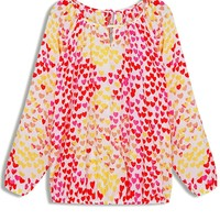 Color Block Heart Chiffon Blouse - OASAP.com