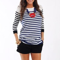 Dual Lines Top, Royal/Black