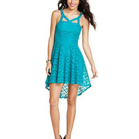 Material Girl Juniors Dress, Sleeveless Open-Knit High-Low - Juniors Dresses - Macy's