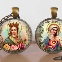 Religious Catholic Necklace Double Sided Pendant Mystical Rose Immaculate Heart