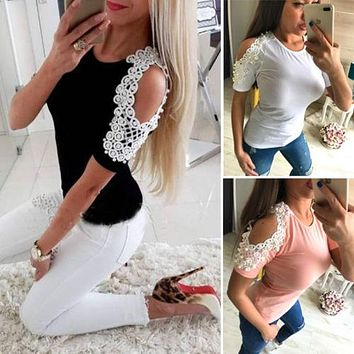 Women Fringe Loose Top Short Sleeve Summer Cold Shoulder Pearl Beading Round Neck Casual Ladies Tops T Shirt