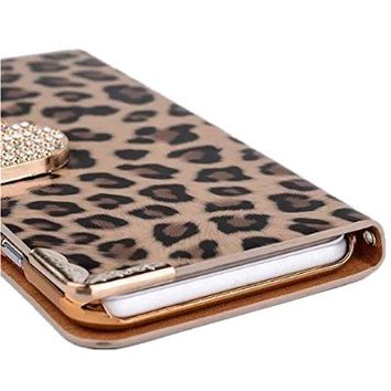 LI&HI Bling Rhinestone Diamond Crystal Glitter Bling Case Cover Shell Phone Wallet Case for Iphone 6 Plus 5.5 Inch (Leopard print-Brown)