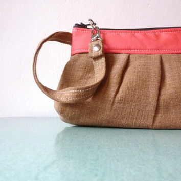 Brown Linen Wristlet with Watermelon Pink accents - Clutch - Purse - Handmade