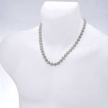 """Jewelry Kay style Men's Silver Tone Flower Stone Iced Out 10mm 20"""" 24"""" 30"""" 36"""" CZ Chain Necklace"""