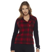Chaps Plaid Sweater Jacket - Women's Plus