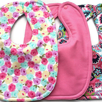 Flower bibs - girl bibs - Girls flower bib set - pretty bibs for girls - baby girl bibs - baby bibs - dribble bibs - bib sets - toddler bibs