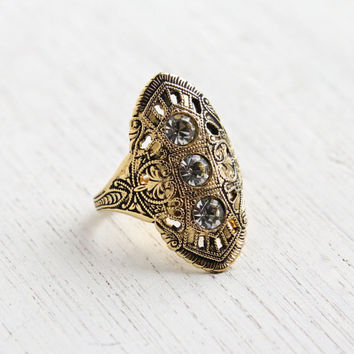 Vintage Art Deco Style Rhinestone Ring - 14k Gold Plated Filigree Signed ESPO Costume Jewelry / Statement Shield