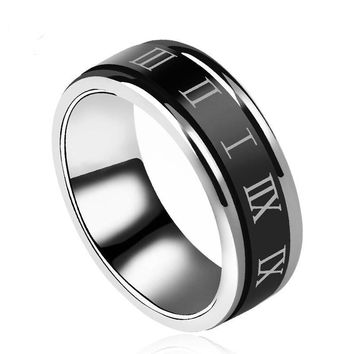 Roman Numerals Rotatable Stainless Steel Men Ring Retro Jewelry Gift