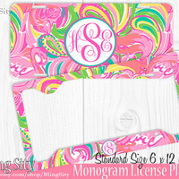 Monogram License Plate Frame Holder Metal Sign Car Truck Tags Personalized Custom Vanity Hot Pink Flamingo  Lilly Inspired