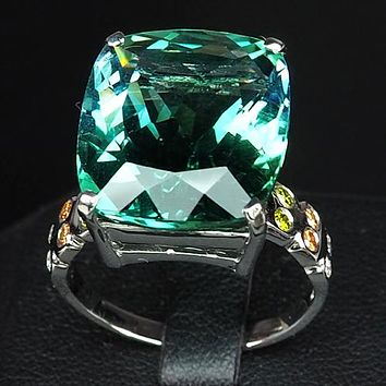 14K White Gold 18CT Elongated Cushion Cut Blue Green Ametrine Ring