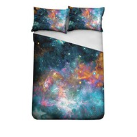 Bed Sheet Set 3pcs Galaxy Pattern One Bed Cover and 2 Pillow Cases Polyester