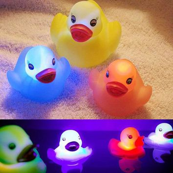 Led Light Drink Float Water Swimming Child's Play Mouth Mini Small Yellow Rubber Duck Educational for Children Baby Bath Toys