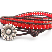 Coral Triple Leather Wrap Bracelet, beaded bracelet, Bohemian, Cowgirl Country Western Coral Daisy button