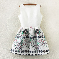 White Coin And Floral Print Pleated Skater Dress