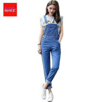 Casual Straight Straps Overalls Jeans Rompers Womens Loose High Waist  Jeans Jumpsuit Female Boyfriend Denim Overalls
