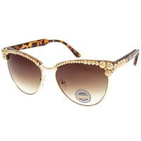 Farrah Gold Cultured Pearl Embellished Sunglasses