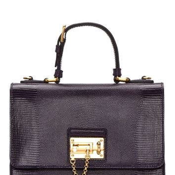 Dolce And Gabbana Purple Iguana Embossed Leather Monica Bag