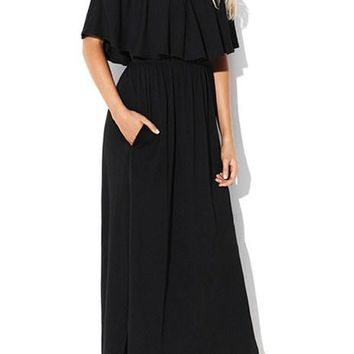 Chic Black Flounce Off The Shoulder Maxi Jersey Dress
