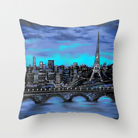 Eiffel Tower ~ Paris France Throw Pillow by  RokinRonda