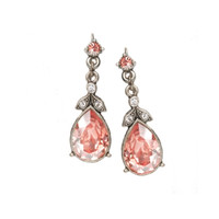 Crystal Pear Earrings in Blush