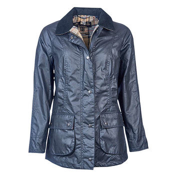 Barbour Tartan Beadnell Waxed Jacket, Navy at John Lewis