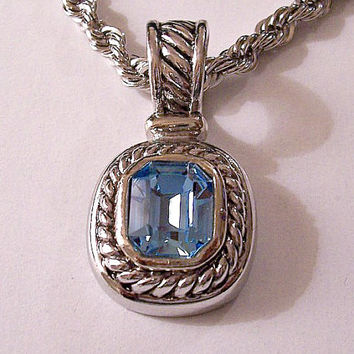 BMNY Blue Glass Pendant Necklace Silver Tone Vintage Twisted 24 Inch Rope Link Chain Slant Line Bale Hook Square Stone
