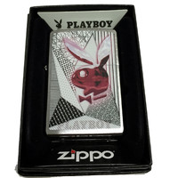 Zippo Custom Lighter - Retro Playboy Logo - Brushed Chrome 200CI017330