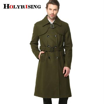 Fashion Winter Classic Men Trench Slim Wool Coats Double Button Woolen Coats Long Outwear Army Green Black