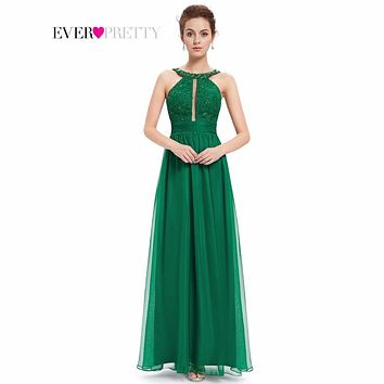 Long Evening Dresses 2017 Women Sexy Ever Pretty HE08572 Beads Round Neck Wedding Events Green Lacy Ruffled Evening Dress New