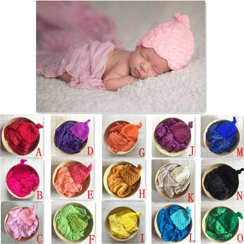 15 colors Newborn Photography Props Studio Props Basket Filler Knitted Handwoven Beanies  Baby Shower Gift ZQY020