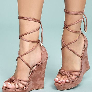 Macy Dusty Pink Suede Lace-Up Wedges