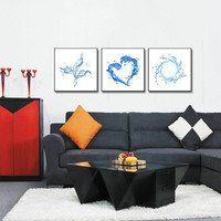 3 Panels Wall Painting Water Heart-shaped Abstract Canvas Modern Home Wall Decor Art HD Large Print Picture Poster Free Shipping