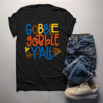 Men's Thanksgiving T Shirt Gobble Gobble Y'all Tee Colorful Turkey Day