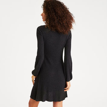 AEO Ribbed Puff-Sleeve Sweater Dress, Heather Gray