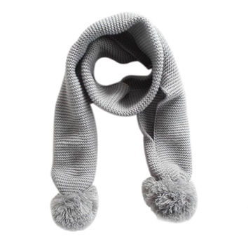 Winter Scarf Baby Kids Winter Solid Color Double Ball Warm Knitting Wool Scarf Bufanda De Invierno #2458